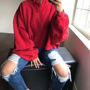 Oversized red crop sweatshirt